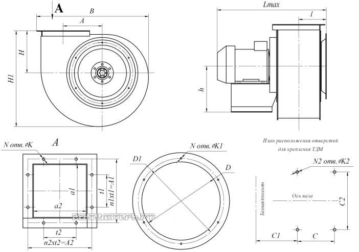 Габаритные размеры и исполнение ВД-2,5