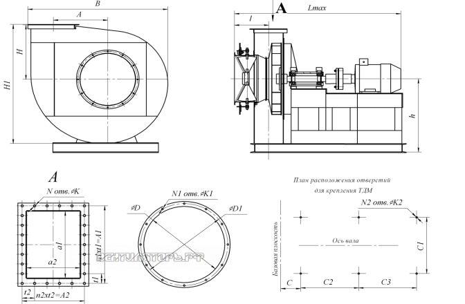 Габаритные размеры и исполнение ВДН-9  исполнение 3
