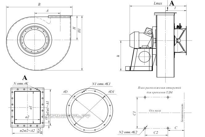 Габаритные размеры и исполнение ВДН-9