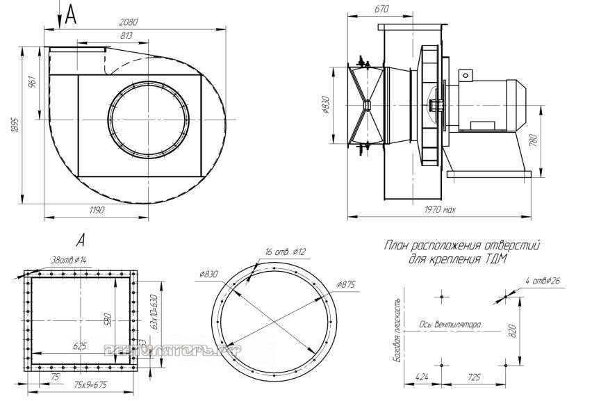 Габаритные размеры и исполнение ВДН-13