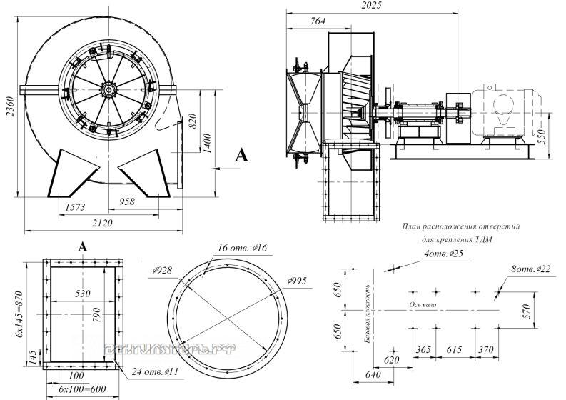 Габаритные размеры и исполнение ВД-13,5