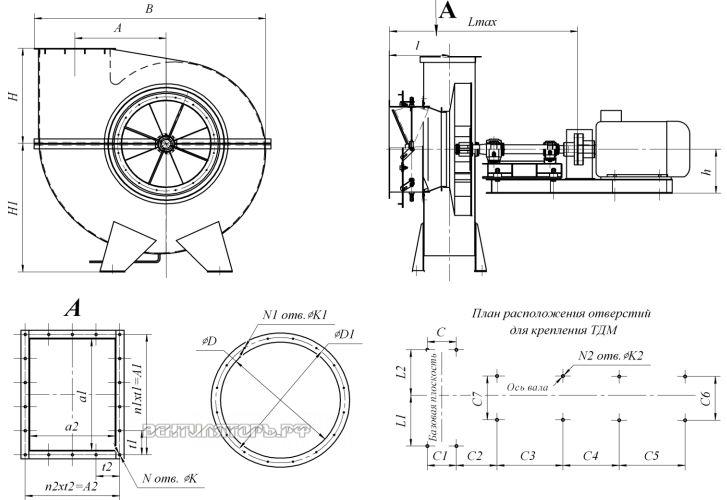 Габаритные размеры и исполнение ВД-15,5