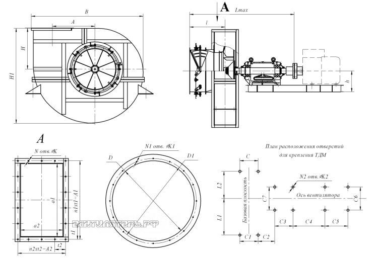 Габаритные размеры и исполнение ВДН-21