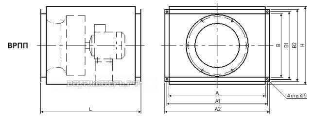 Схема и исполнение вентилятора ВРПП 50х30В