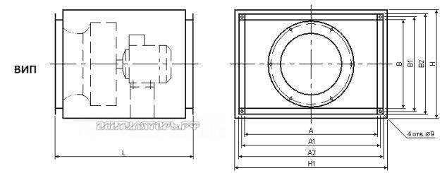 Схема и исполнение вентилятора ВИП 50х30В
