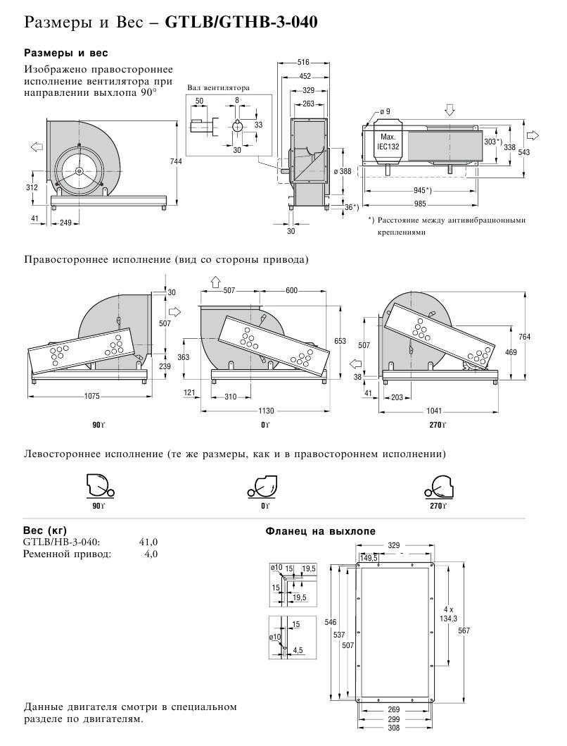 Габаритные и присоединительные размеры Flaktwoods GTHB-3-040