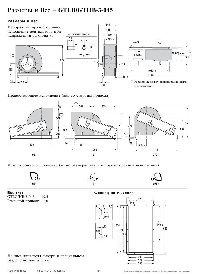 Габаритные и присоединительные размеры Flaktwoods GTHB-3-045