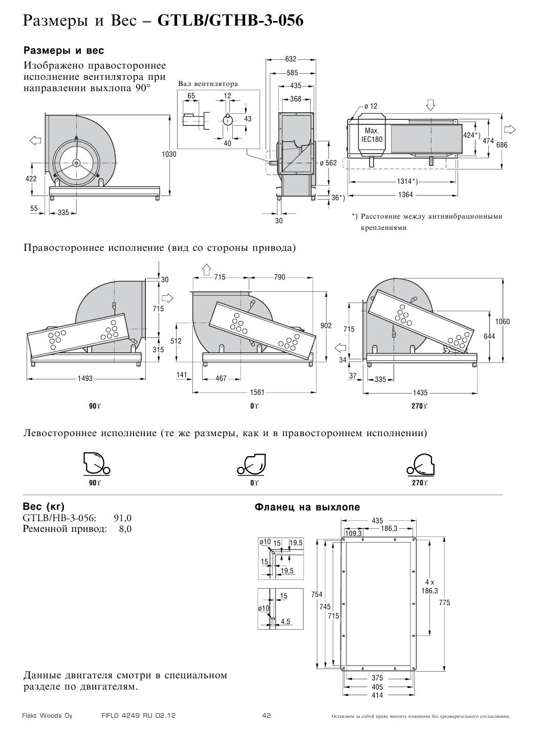 Габаритные и присоединительные размеры Flaktwoods GTHB-3-056