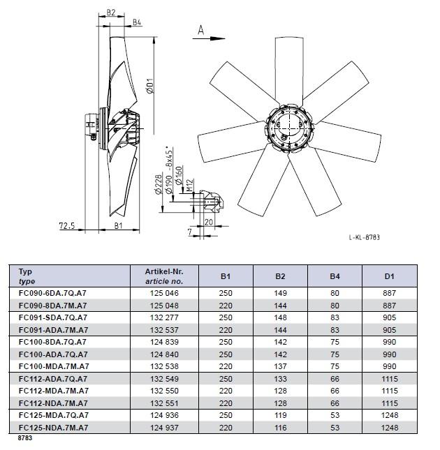 Габаритные размеры Ziehl-abegg FC091-SDA.7Q.A7
