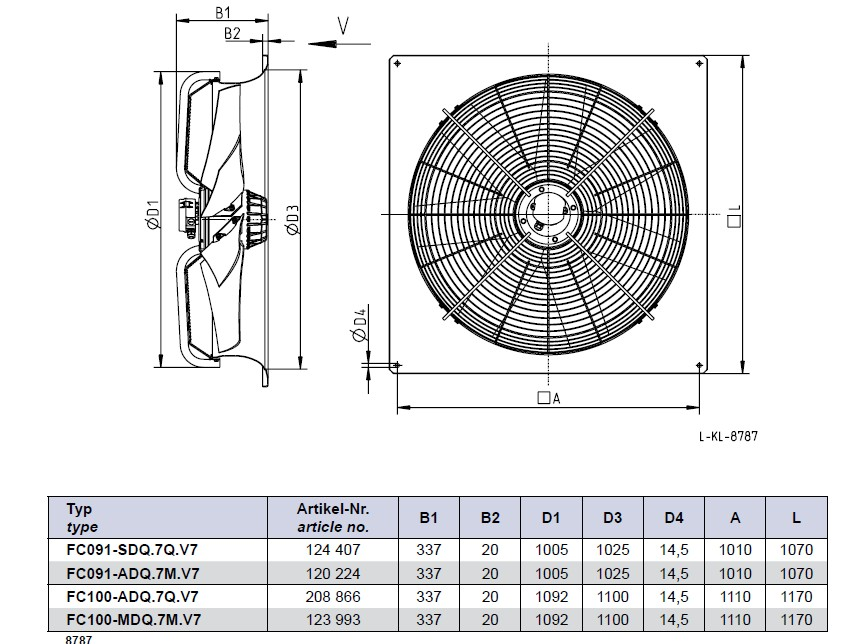 Габаритные размеры Ziehl-abegg FC091-SDQ.7Q.V7