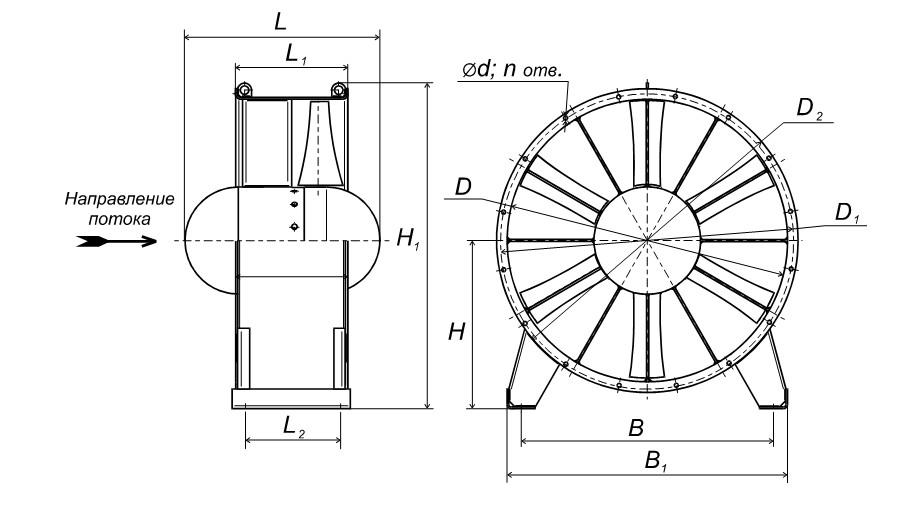 Габаритные размеры ВО-25-200-8