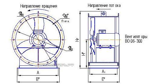 Типразмер, габариты, направление потока ВО 06-300 6,3