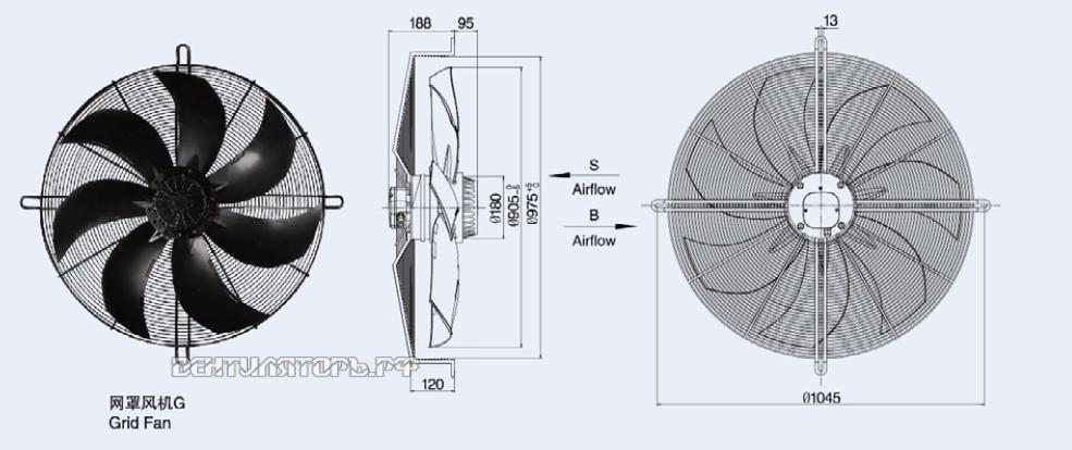 Установочные размеры Weiguang YWF-8D-910S-180/105 - решетка